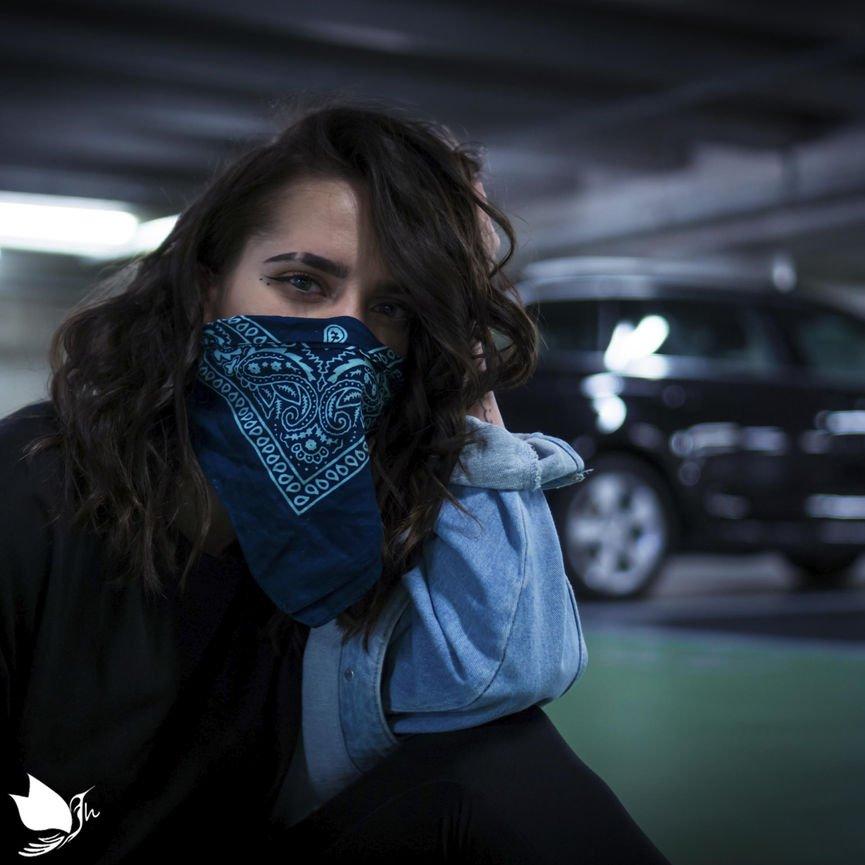 custom print square silk scarf bandanna used as a diy mask for protection against corona virus