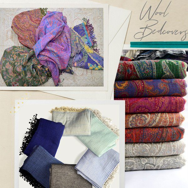 wholesale wool bed cover throw blanket made in india