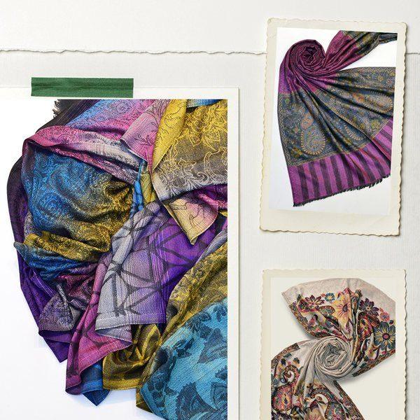 semi pashmina silk scarves made in india