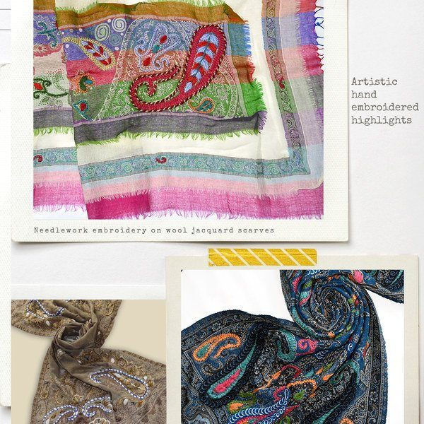 warm wool scarves with hand embroidery