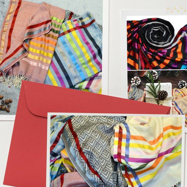 winter wool scarves with metallic silk stripes